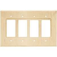 Liberty Hardware 65172, Quad Decorator Wall Plate, Unfinished Wood, Wood Square