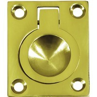 Deltana FRP175U3, Flush Ring Pull, 1-3/4 x 1-3/8, Bright Brass