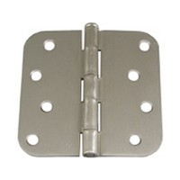 WE Preferred MP5580404 Zinc Door Hinges, Standard, Surfaced Mounted, Round Type, 4in Square x 5/8 Radius, Satin Nickel