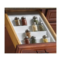 KV SDG1088-1-W, Polymer Spice Drawer Insert, KV Series, White, 12-1/8 - 14-3/4 W x 16-1/4 - 21 D x 2 H, Knape and Vogt