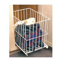 Knape and Vogt KV H1518-W, 71QT Pull-Out Wire Hamper Basket, 15-1/8 W x 18-3/4 D x 18-7/8 H, White