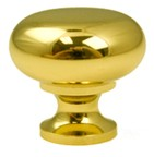 "Berenson 7316-303-P, Polished Brass 1"" Knob, Zinc Die Cast"
