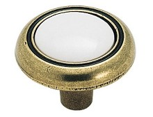 "Amerock BP76244WB, White/Antique Brass 1-1/4"" Knob"