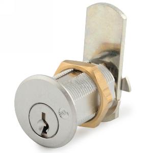 """1-1/16"""" Cylinder N-Series Pin Tumbler Cam Lock, Keyed KD, Satin Chrome, Olympus Lock DCN1-26D-KD"""