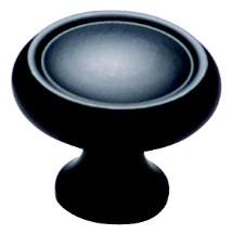 """Schaub and Co 711-FB, Flat Black 1-1/4"""" Knob, Solid Brass"""