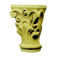 CVH International TMC11A-O, Hand Carved Wood 4 H Capital, Corinthian Collection, Oak