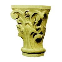 CVH International TMC11A-O, Hand Carved Wood 4 H Capital, Corinthian Collection, Oak