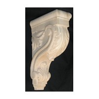 CVH International CAR-13-RW, Machine Carved Wood Corbel, Acanthus Collection, 3-3/8 W X 7-3/4 D X 13 H, Rubberwood