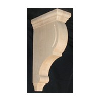 CVH International C-12-RW, Machined Wood Bar Bracket Corbel, 3 W x 6-1/2 D x 12 H, Rubberwood