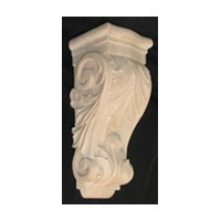 CVH International CBLA-12-RW, Machine Carved Wood Corbel, Acanthus Collection, 4-7/8 W X 4-1/2 D X 12 H, Rubberwood