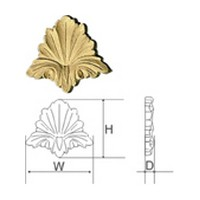 CVH International C4-C, Hand Carved Wood Rosette, Acanthus Rosette Collection, 3-3/4 W x 1/2 D x 3-1/4 H, Cherry