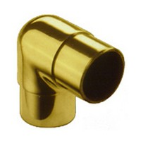 Lavi 00-732/1H, Bar Railing Fittings, 90-Degree Ell Flush Fitting, Solid Brass, 2 W x 2 L, Fits Railing dia.: 1-1/2, Bright Brass