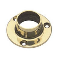 Lavi 00-500/1, Bar Railing Wall Flange, Solid Brass, 2 Dia. x 7/8 H, Fits Railing dia.: 1in, Bright Brass