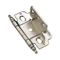 Amerock PK3180TMG9, Full Inset, Partial Wrap, Free Swinging Hinge, Minaret Tip for 3/4 Doors, Sterling Nickel