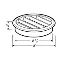 Hardware Concepts 6435-010, Round Plastic 1-Piece, Ventilation Grommet, Bore Hole: 2-1/2 dia., White