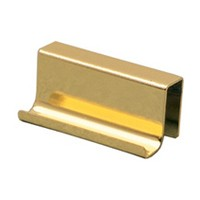 Wood Technology 7017.001.028, Strike Plate for Glass Doors, Pull Style, 15/16 H x 1-9/16 W, 7/16 Proj, Bright Brass