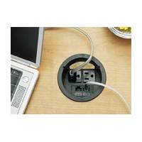 Mockett PCS1A-90, Round Plastic Power Cord Grommet, 2 Electrical Outlets/1 Phone-Data Jack, Bore Hole: 3-1/2 dia., Black
