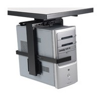 KV CPU-4, Under Desk CPU Holder, 50lb Rating, Slide & Swivel Features with Locking Device, Black, Knape and Vogt