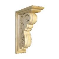 Grand River KB511, Machine Carved Wood Corbel, Grand Floral Collection, 5 W x 10-1/2 D x 16-3/4 H, Maple