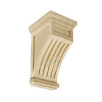 CVH International CRF-7 WHITE OAK, Hand Carved Wood Corbel, Fluted Mission Collection, 4-1/4 W x 4-1/4 D x 7 H, White Oak