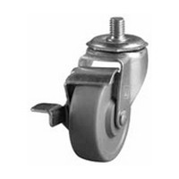 DH Casters C-LI30T6MSB, Threaded Stem Swivel Caster With Brake, Light Duty, 3in, 100lb Capacity
