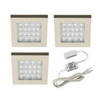 Hera 1.2W LED 3-Square Light Set, EQ-LED Series, 24V, Surface Mount, Cool White, Stainless Steel, LED/SETEQCW