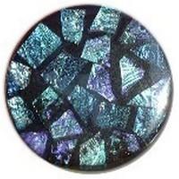 Glace Yar GYK-104SN1, Round 1in dia. Glass Knob, Random, Blue/Turquoise/Purple, Black Grout, Satin Nickel