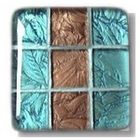Glace Yar GYK-12-7BR, Square 1-1/2 Length Glass Knob, 9 Tiles, Turquoise, Copper, Silver Grout, Brass