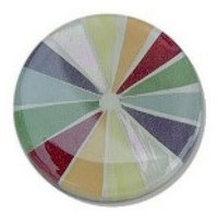 Glace Yar GYK-2-20AB1, Round 1in Dia Glass Knob, Pie Slices, Various colors, No grout, Antique Brass