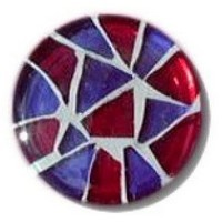 Glace Yar GYK-215BR1, Round 1in Dia Glass Knob, Random, Purple and Red, White Grout, Brass