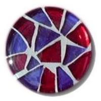 Glace Yar GYK-215SN1, Round 1in dia. Glass Knob, Random, Purple & Red, White Grout, Satin Nickel
