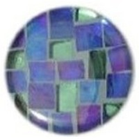 Glace Yar GYK-274BR114, Round 1-1/4 Dia Glass Knob, Square Cuts, Blue, Green, Light Blue grout (or lt. Green), Brass