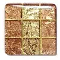 Glace Yar GYK-30-8AB, Square 1-1/2 Length Glass Knob, 9 Tiles, Copper, Gold, Gold Grout, Antique Brass
