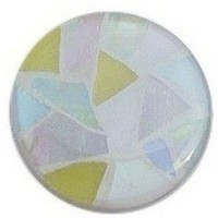 Glace Yar GYK-408BR112, Round 1-1/2 Dia Glass Knob, Random, Yellow, Pink, Mint Green, Light Blue, white, White Grout, Brass