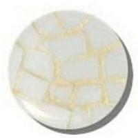 Glace Yar GYK-430BR1, Round 1in Dia Glass Knob, Random, White, Gold Grout, Brass