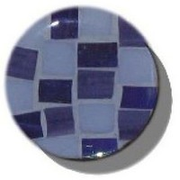 Glace Yar GYK-927BR114, Round 1-1/4 Dia Glass Knob, Square Cuts, Light Blue and medium Blue, Light Blue grout, Brass