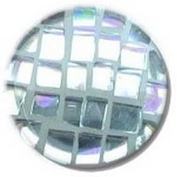 Glace Yar GYK-ABR1SN112, Round 1-1/2 Dia Glass Knob, Square Cuts, Clear Square Cuts, White Grout , Satin Nickel