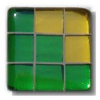 Glace Yar GYK-BC85AB, Square 1-1/2 Length Glass Knob, 9 Tiles, Green Clear, 3 Clear Yellow Corner, Beige Grout, Antique Brass