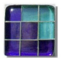 Glace Yar GYK-BC87AB, Square 1-1/2 Length Glass Knob, 9 Tiles, Clear Purple, 3 Clear Green Corner, Beige Grout, Antique Brass