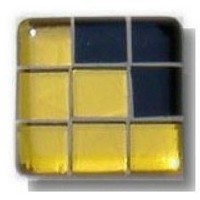 Glace Yar GYK-BC80BR, Square 1-1/2 Length Glass Knob, 9 Tiles, Yellow Clear, 3 Black Solid Corner, Beige Grout, Brass