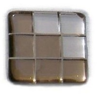 Glace Yar GYK-BC83AB, Square 1-1/2 Length Glass Knob, 9 Tiles, Bronze Clear, 3 Clear Pink Corner, Beige Grout, Antique Brass