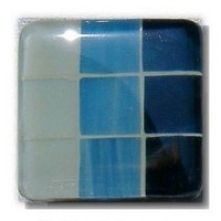 Glace Yar GYK-DNR2AB, Square 1-1/2 Length Glass Knob, 9 Tiles, One row each, Off White, Light Blue, Dark Blue, Beige Grout, Antique Brass