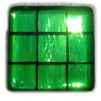Glace Yar GYK-GR2AB, Square 1-1/2 Length Glass Knob, 9 Tiles, All Clear Green, Black Grout, Antique Brass