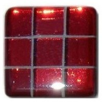 Glace Yar GYK-MR2SN, Square 1-1/2 Length Glass Knob, 9 Tiles, All Clear Red, White Grout, Satin Nickel