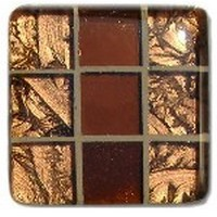 Glace Yar GYK-MR3SN, Square 1-1/2 Length Glass Knob, 9 Tiles, Copper, clear Copper, Copper Grout, Satin Nickel