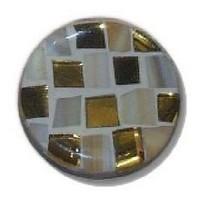 Glace Yar GYKR-4-04SN114, Round 1-1/4 dia. Glass Knob, Square Cuts, Beige, Gold, Beige Grout, Satin Nickel