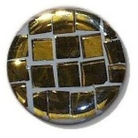 Glace Yar GYKR-4-14AB112, Round 1-1/2 Dia Glass Knob, Square Cuts, Gold, Beige Grout, Antique Brass