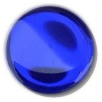 Glace Yar GYKR-BLUPC1, Round 1in dia. Glass Knob, Solid Color, Sapphire Blue, Polished Chrome