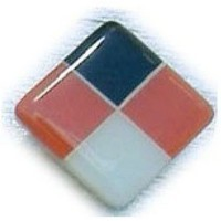 Glace Yar HD-31WBR112, Square 1-1/2 Length Glass Knob, 4 Tiles, Black, Electric Orange, White Glass/White Grout, Brass