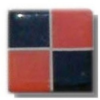 Glace Yar HD-33WAB1, Square 1in Lng Glass Knob, 4 Tiles, Electric Orange, Black Opaque/White Grout, Antique Brass